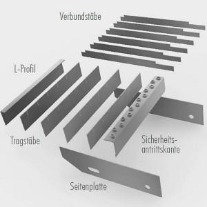 [2549-04] Detail mit Seitenplatten, Trag- und Füllstäben