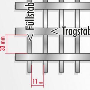 [2609-03] Das erstgenannte Maß entspricht immer der Teilung der Tragstäbe.